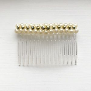 Vintage gold bead & pearl hair comb